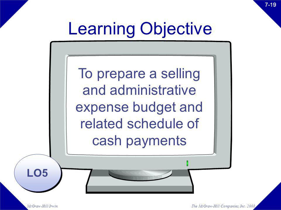 Learning Objective To prepare a selling and administrative expense budget and related schedule of cash payments.