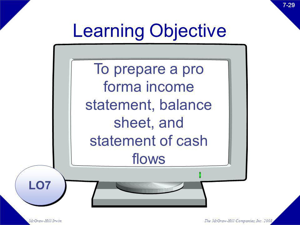 Learning Objective To prepare a pro forma income statement, balance sheet, and statement of cash flows.