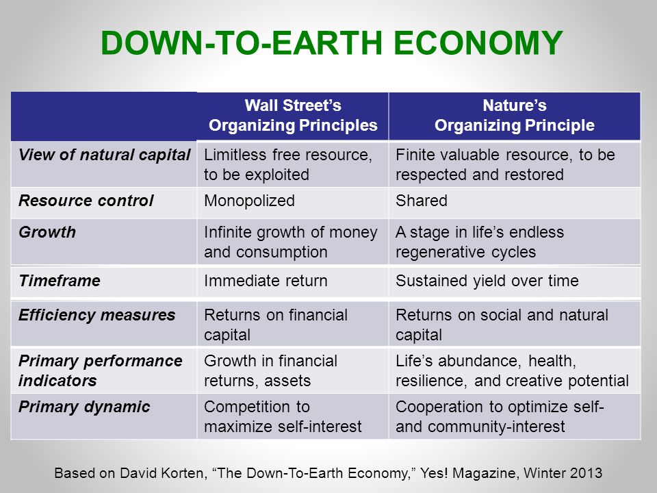 DOWN-TO-EARTH ECONOMY