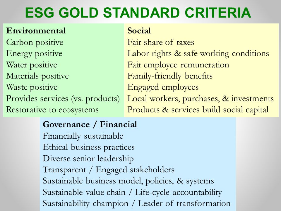 ESG GOLD STANDARD CRITERIA