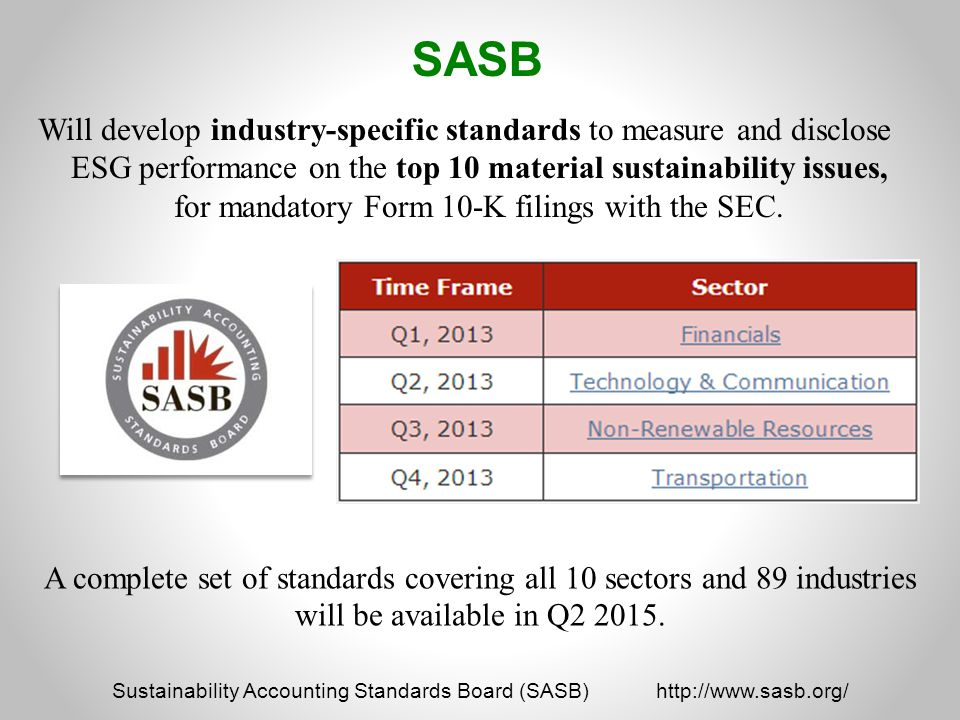 Sustainability Accounting Standards Board (SASB) http://www.sasb.org/