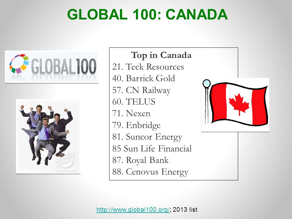 http://www.global100.org/; 2013 list