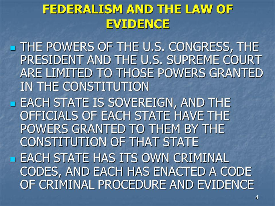FEDERALISM AND THE LAW OF EVIDENCE