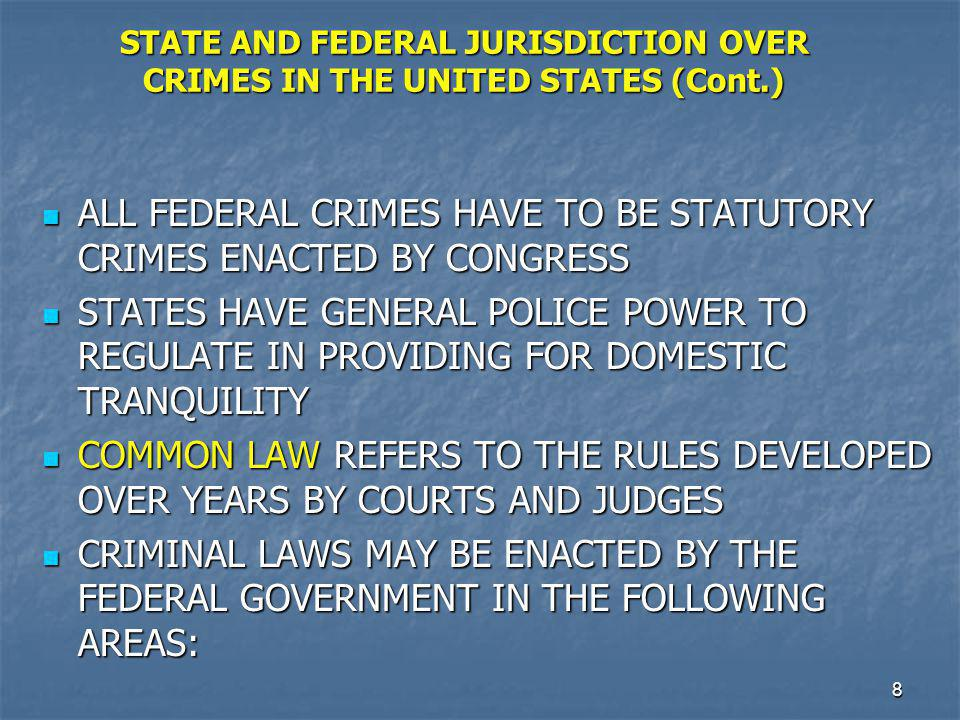 ALL FEDERAL CRIMES HAVE TO BE STATUTORY CRIMES ENACTED BY CONGRESS
