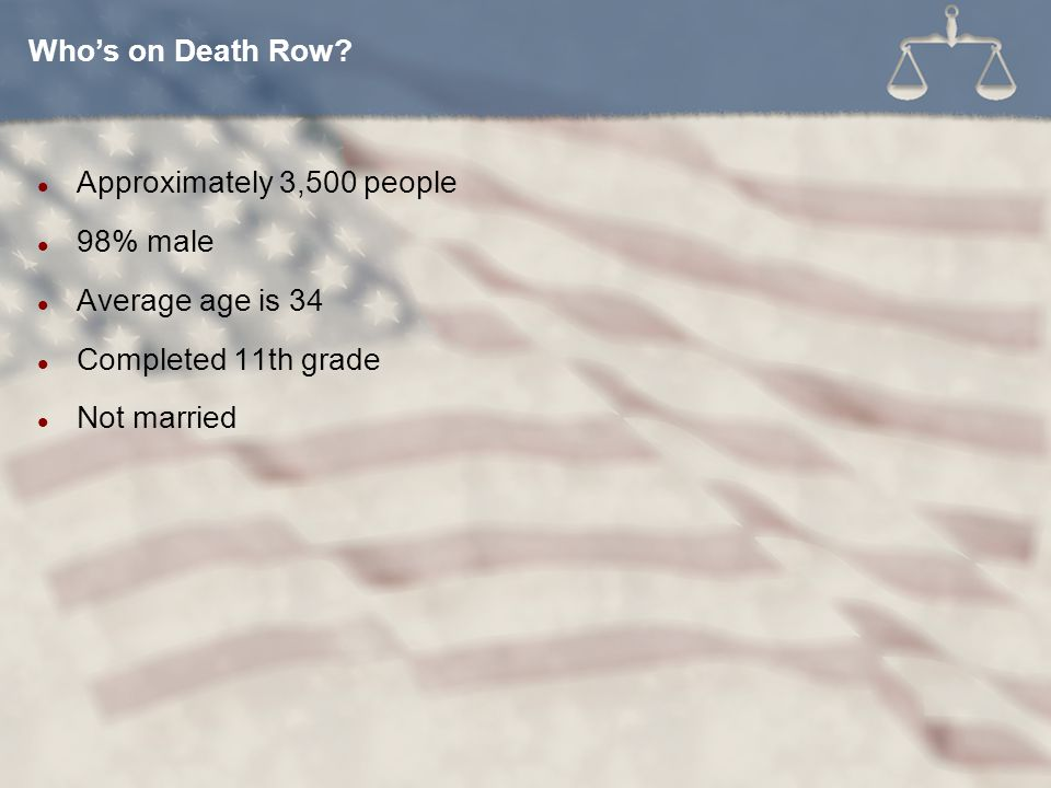 Who's on Death Row Approximately 3,500 people. 98% male. Average age is 34. Completed 11th grade.