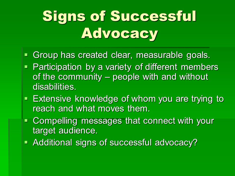 Signs of Successful Advocacy