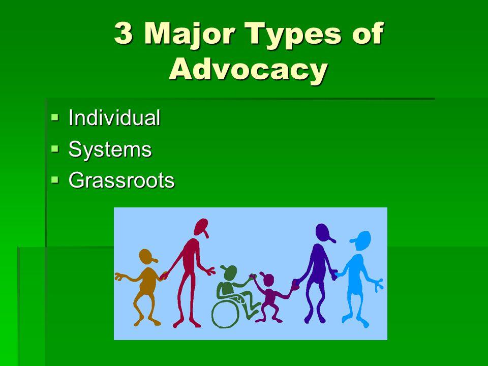 3 Major Types of Advocacy