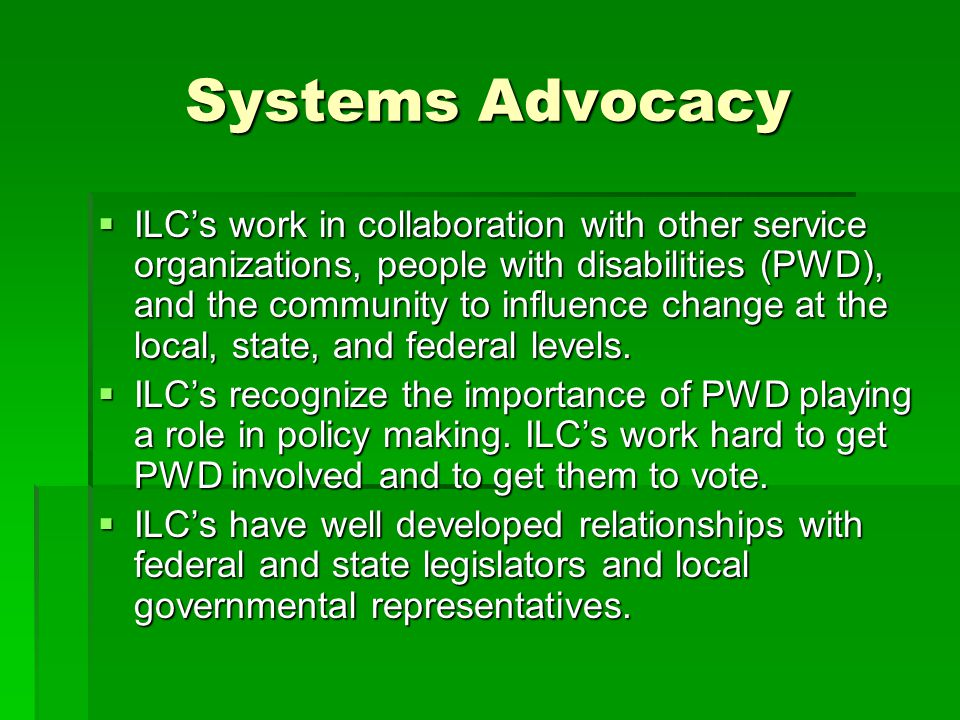 Systems Advocacy