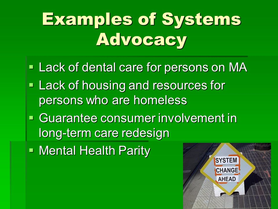 Examples of Systems Advocacy