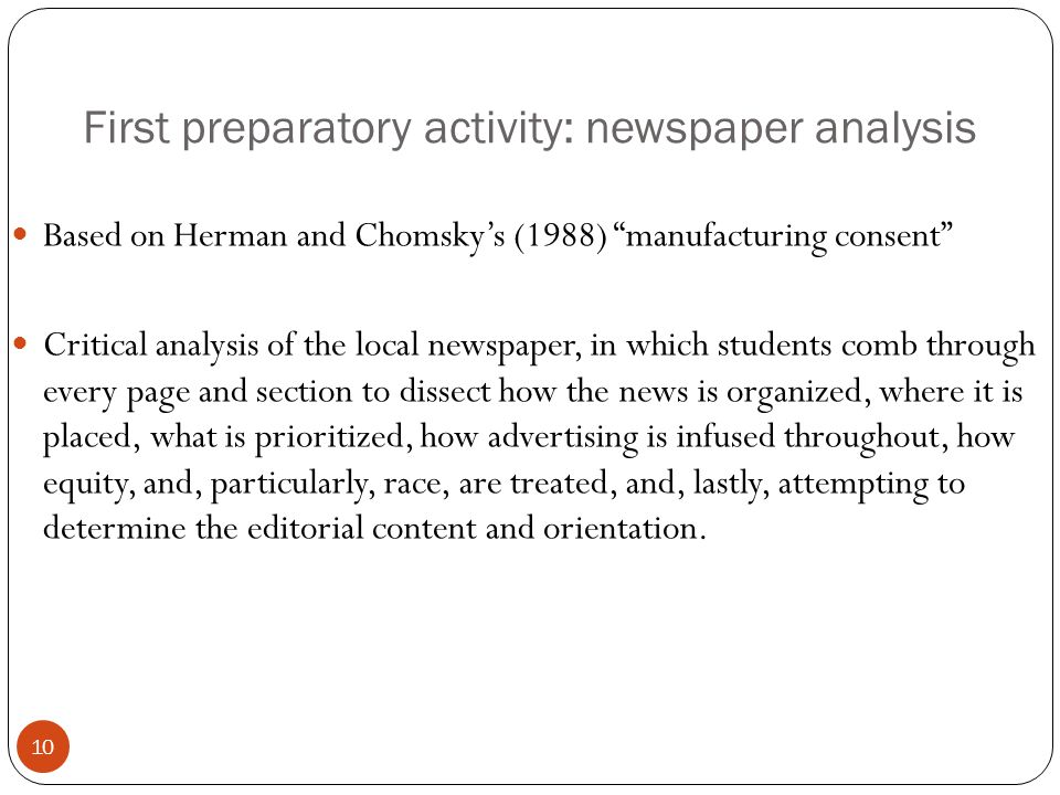 First preparatory activity: newspaper analysis