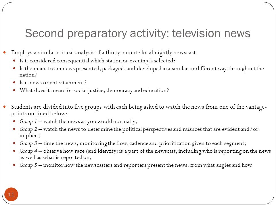 Second preparatory activity: television news