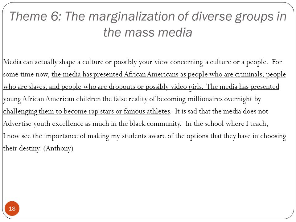 Theme 6: The marginalization of diverse groups in the mass media