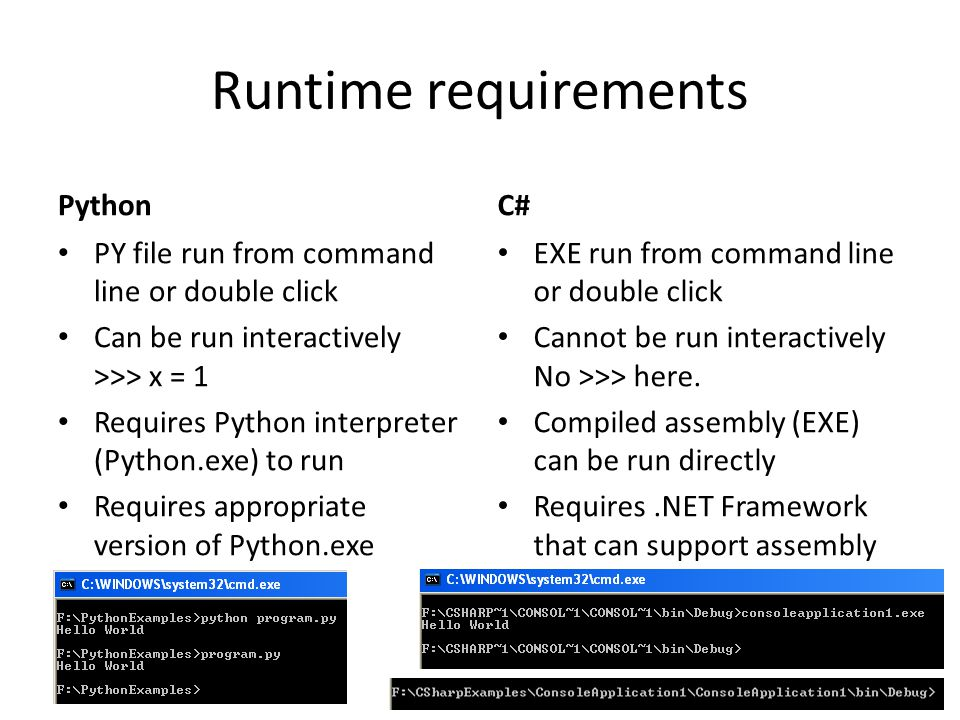 Runtime requirements Python C#