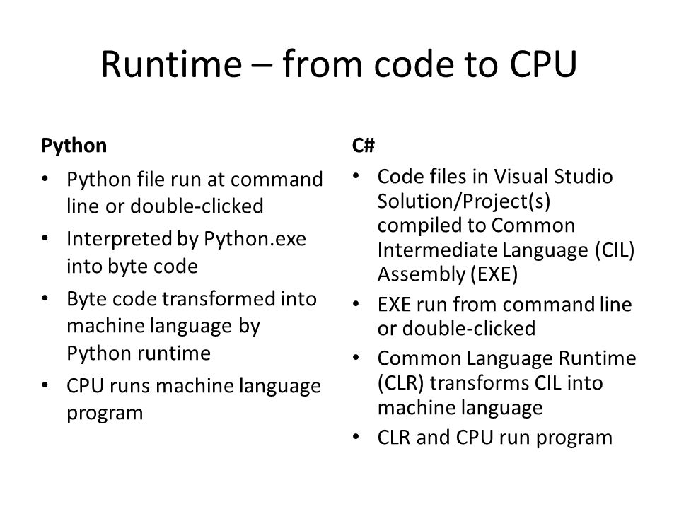 Runtime – from code to CPU