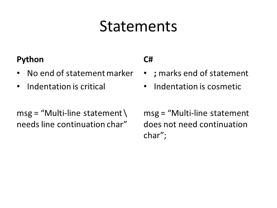 Statements Python C# No end of statement marker