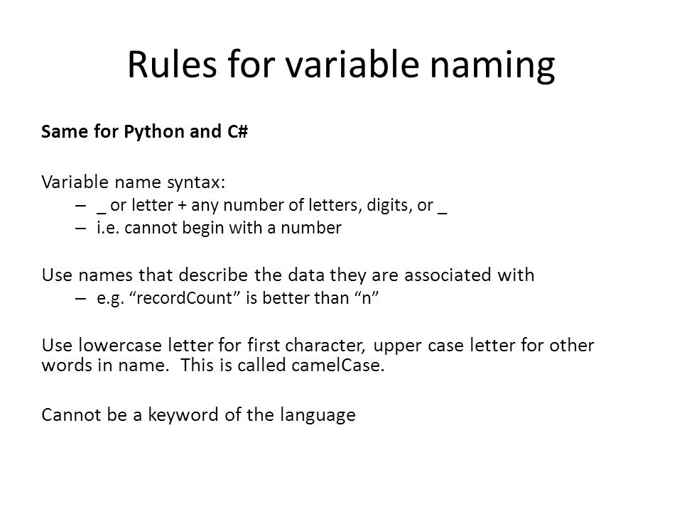 variable naming rules 5 what are the variable naming rules of visual basic, python, and java visual basic must have a letter as the first character cannot use special characters in the name ([email protected]&$ ) name cannot exceed 255 characters in length do not use names that are the same as functions, statements and methods python must begin with a letter or.