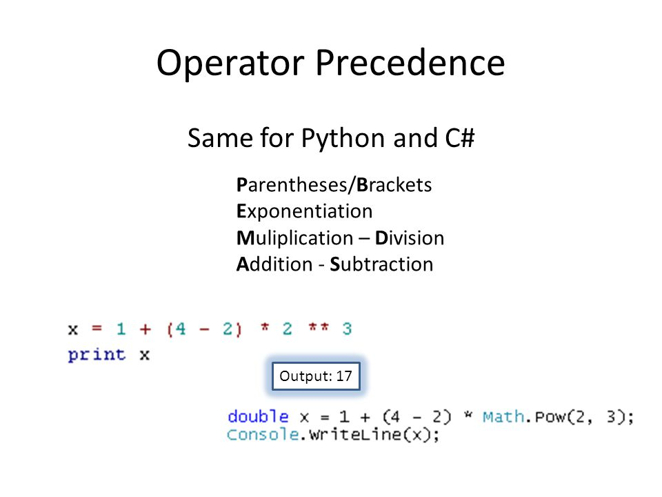Operator Precedence Same for Python and C# Parentheses/Brackets