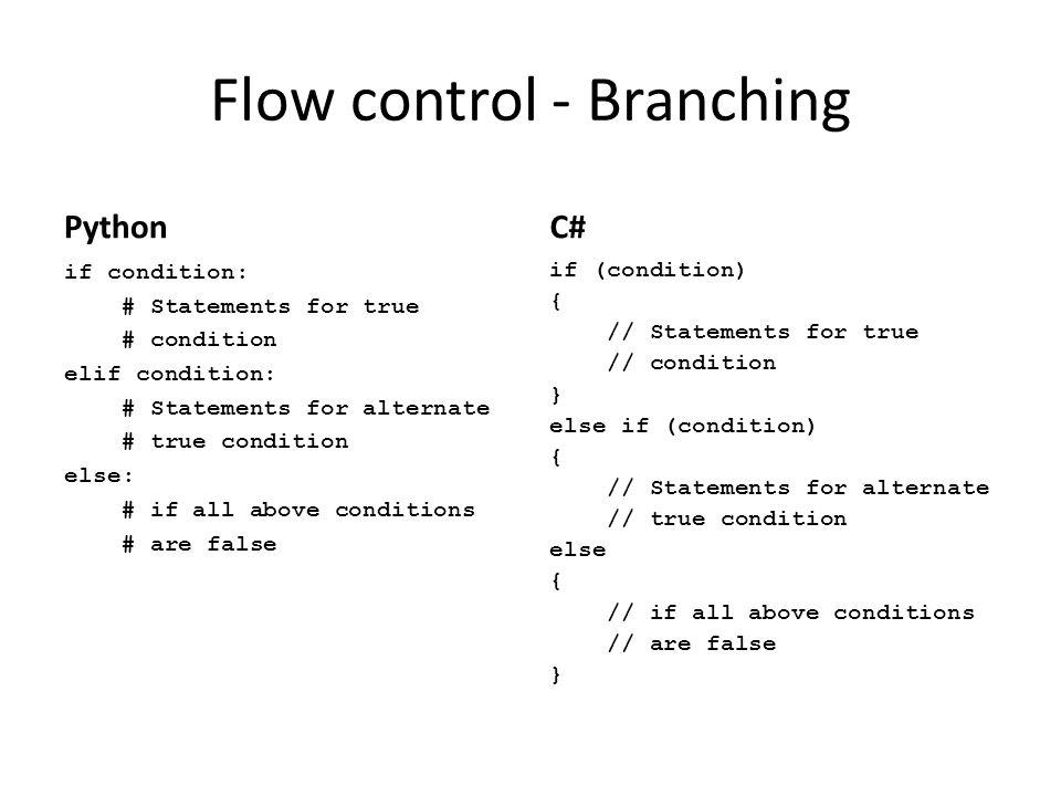 Flow control - Branching
