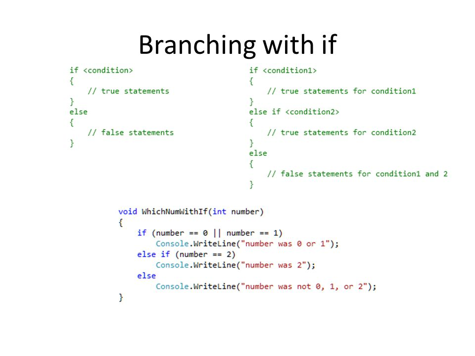 Branching with if
