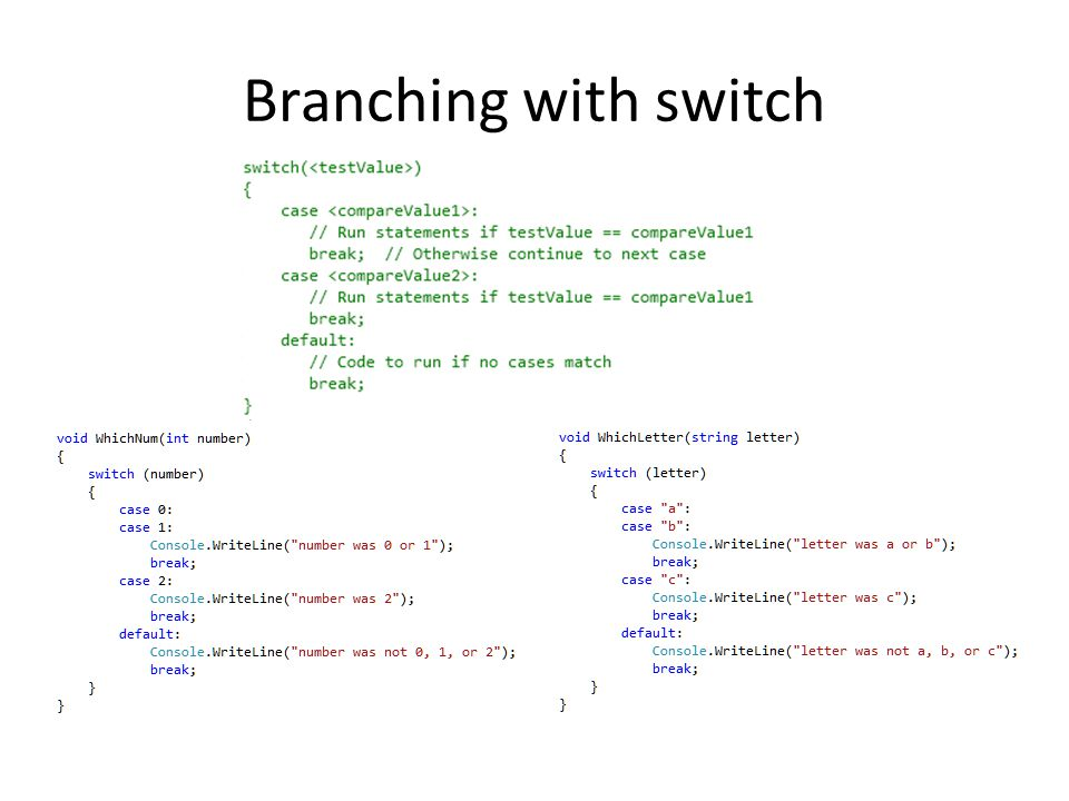 Branching with switch