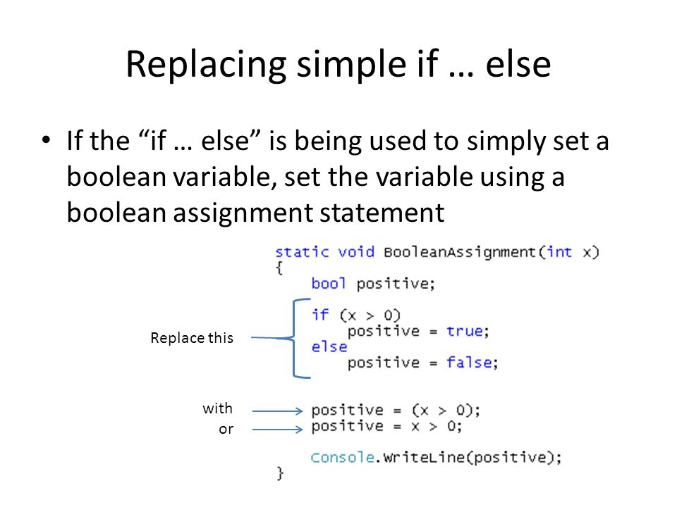 Replacing simple if … else