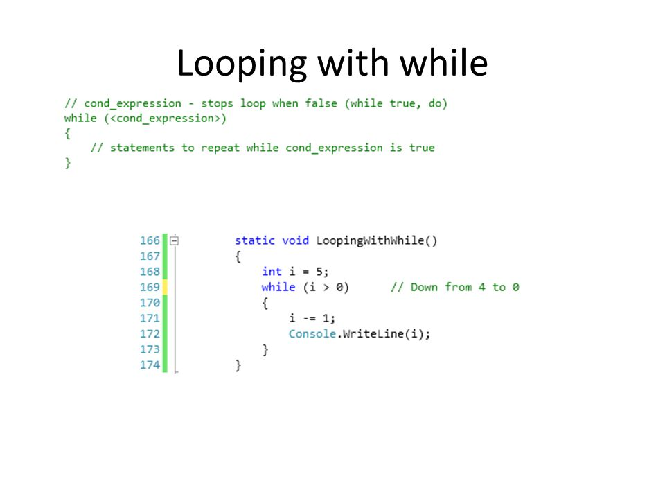 Looping with while
