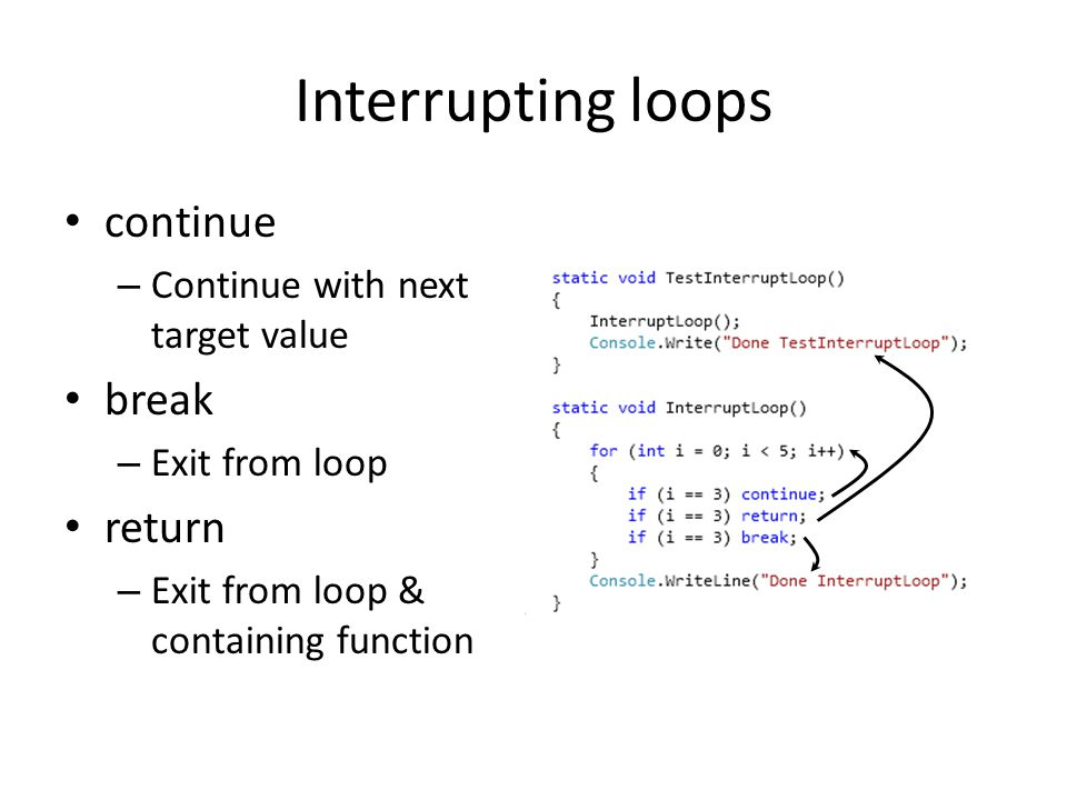 Interrupting loops continue break return