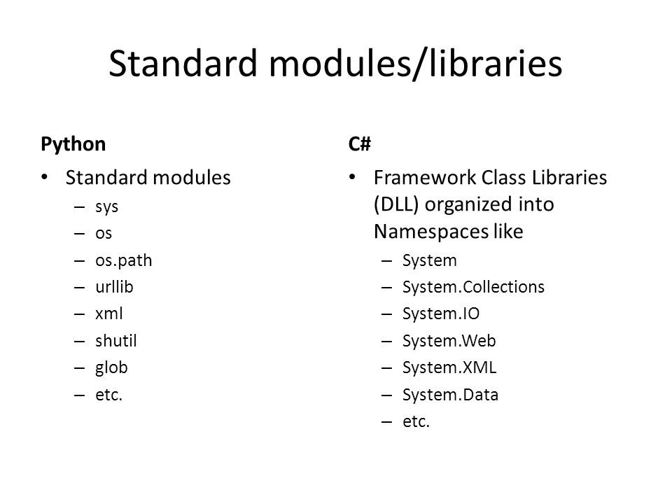 Standard modules/libraries