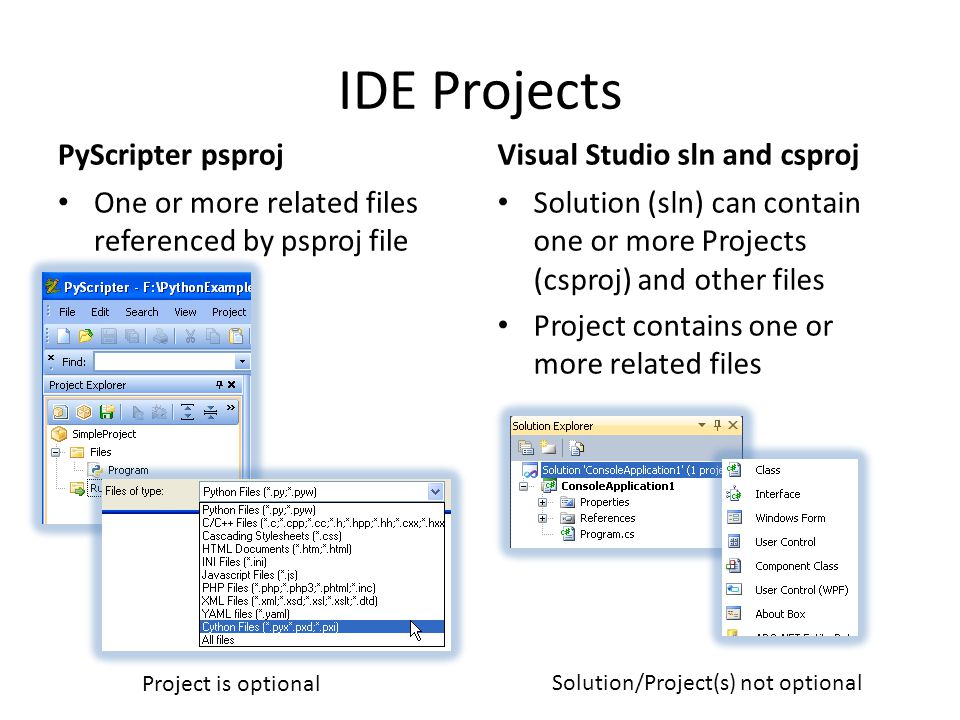 IDE Projects PyScripter psproj Visual Studio sln and csproj