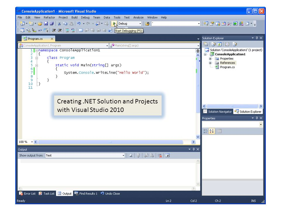 Visual Studio IDE Creating .NET Solution and Projects