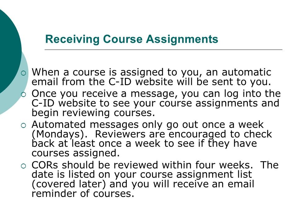 Receiving Course Assignments