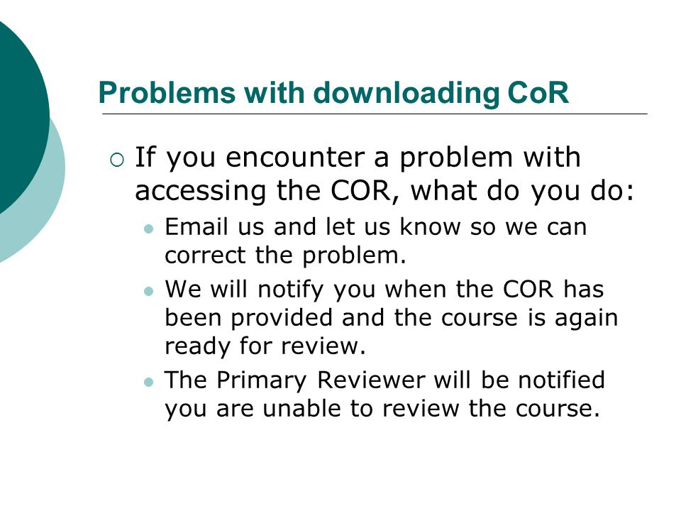Problems with downloading CoR