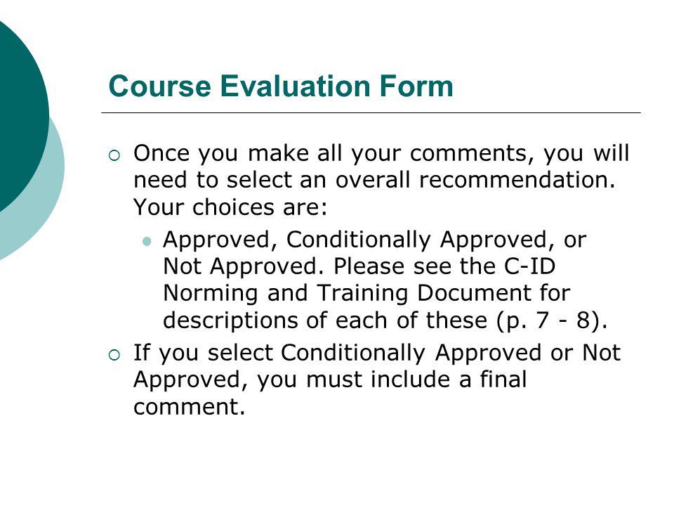 Course Evaluation Form
