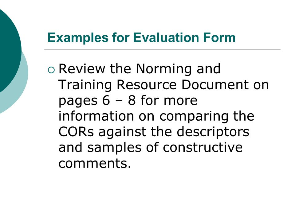 Examples for Evaluation Form