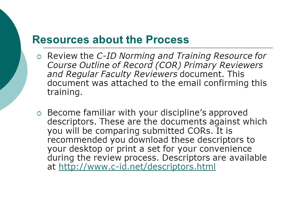 Resources about the Process