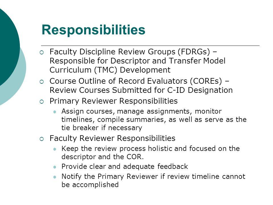 Responsibilities Faculty Discipline Review Groups (FDRGs) – Responsible for Descriptor and Transfer Model Curriculum (TMC) Development.