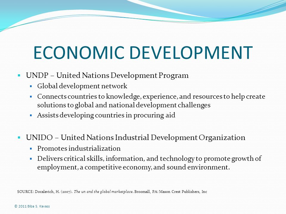 ECONOMIC DEVELOPMENT UNDP – United Nations Development Program