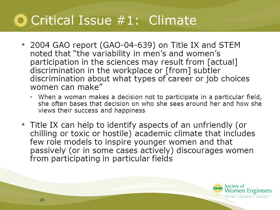 Critical Issue #1: Climate