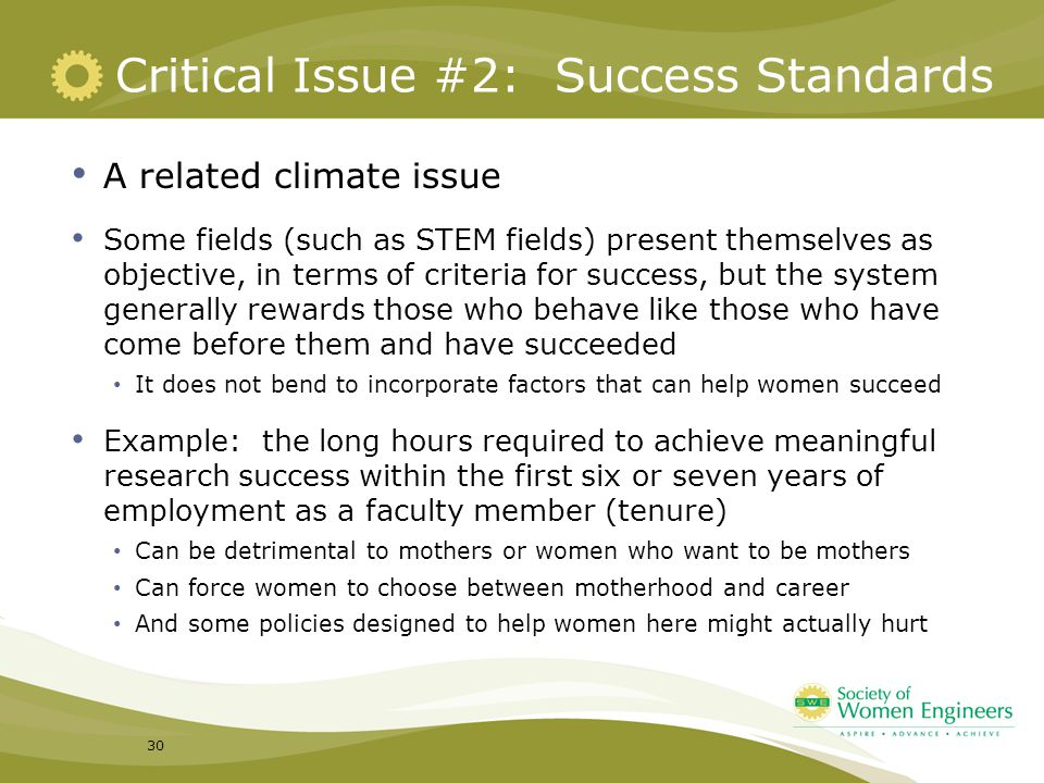Critical Issue #2: Success Standards