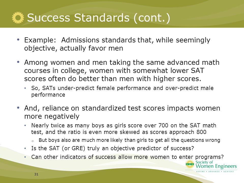 Success Standards (cont.)