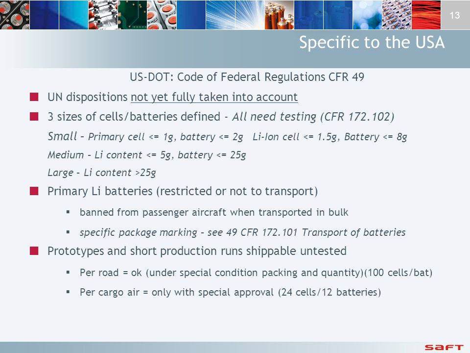 US-DOT: Code of Federal Regulations CFR 49