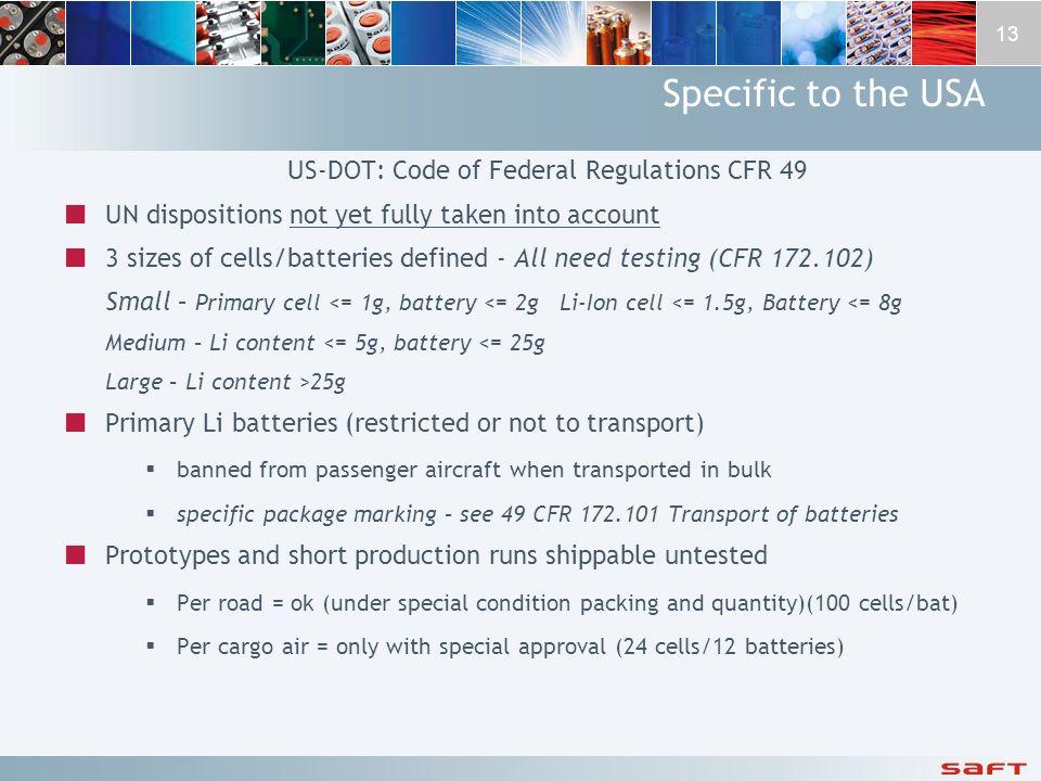 US-DOT: Code of Federal Regulations CFR 49