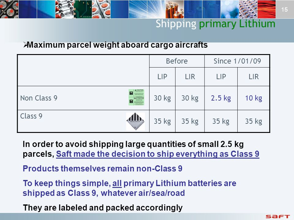 Shipping primary Lithium