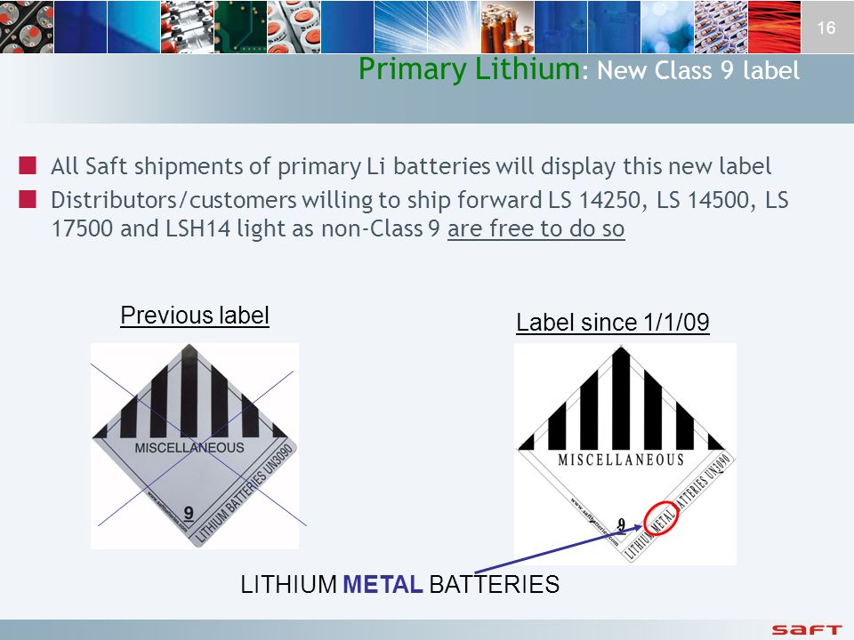 Primary Lithium: New Class 9 label