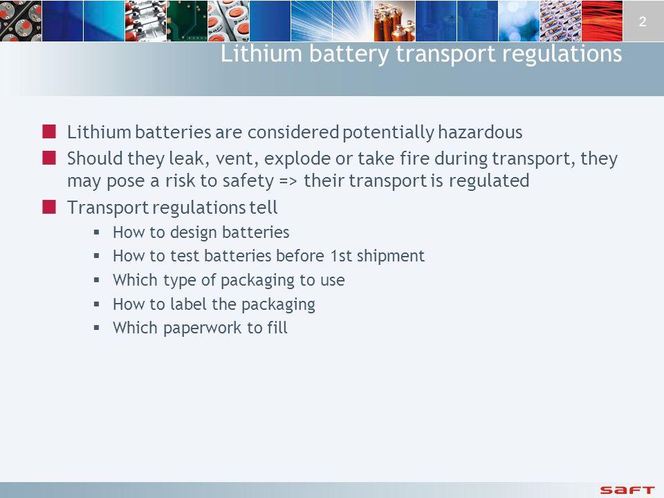 Lithium battery transport regulations