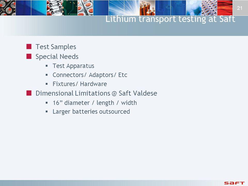 Lithium transport testing at Saft