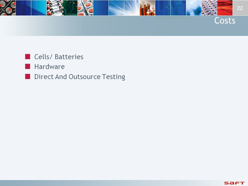 Costs Cells/ Batteries Hardware Direct And Outsource Testing