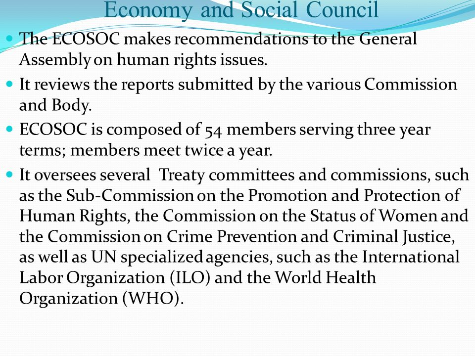 Economy and Social Council