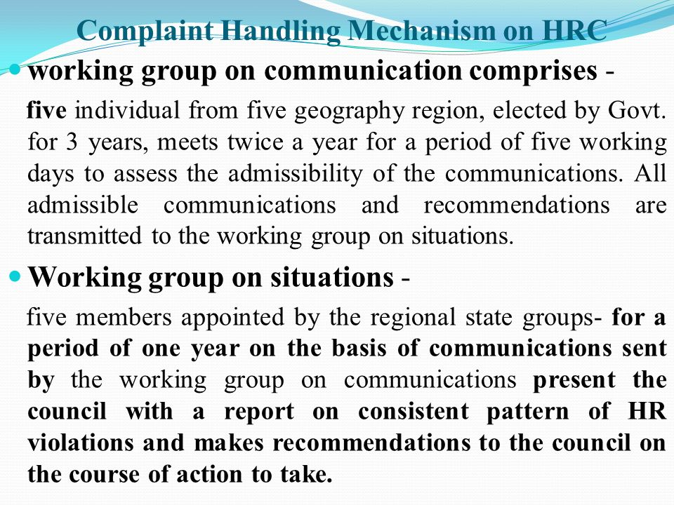 Complaint Handling Mechanism on HRC