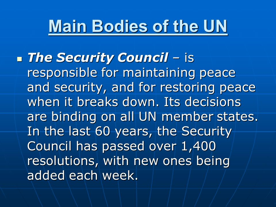 Main Bodies of the UN